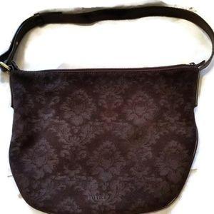 Furla Brown Suede Handbag Purse